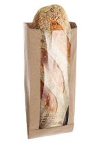 Paper folding bag for bread with window - without print