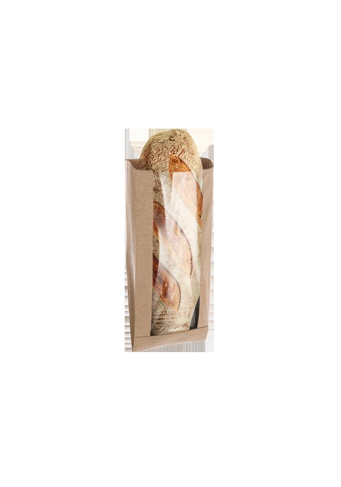 Torba fałdowa papierowa z oknem na pieczywo - bez nadruku