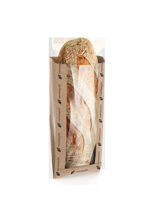 Torba fałdowa papierowa z oknem na pieczywo